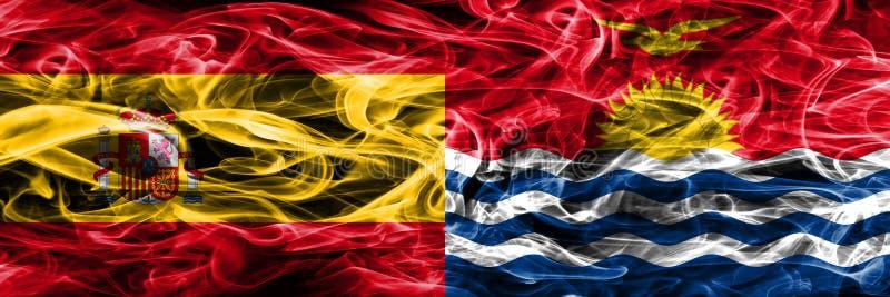西班牙对基里巴斯肩并肩被安置的烟旗子 浓厚上色 库存例证