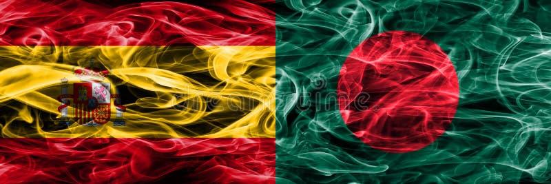 西班牙对孟加拉国肩并肩被安置的烟旗子 厚实的颜色 免版税库存图片