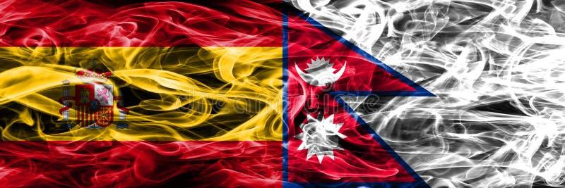 西班牙对尼泊尔肩并肩被安置的烟旗子 厚实的色的si 免版税库存图片