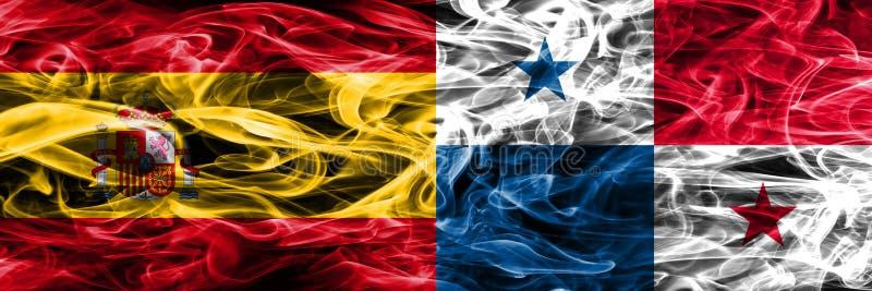 西班牙对巴拿马肩并肩被安置的烟旗子 重色的s 向量例证