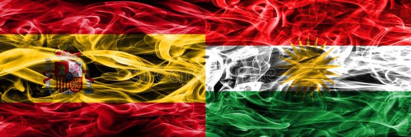 西班牙对库尔德斯坦肩并肩被安置的烟旗子 厚实的colore 库存图片