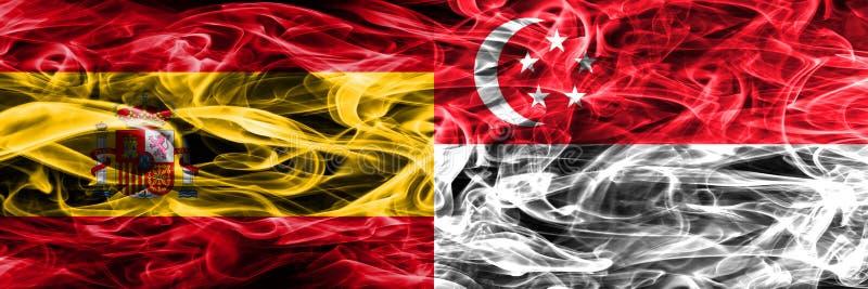 西班牙对新加坡肩并肩被安置的烟旗子 厚实的colore 免版税库存图片