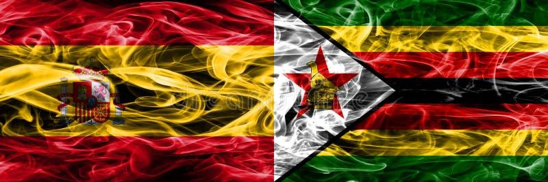 西班牙对津巴布韦肩并肩被安置的烟旗子 浓厚上色 皇族释放例证