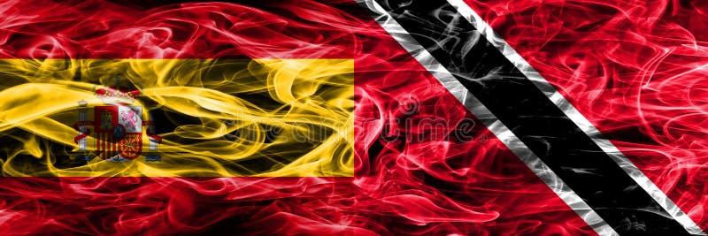 西班牙对特立尼达和多巴哥肩并肩被安置的烟旗子 Th 库存例证
