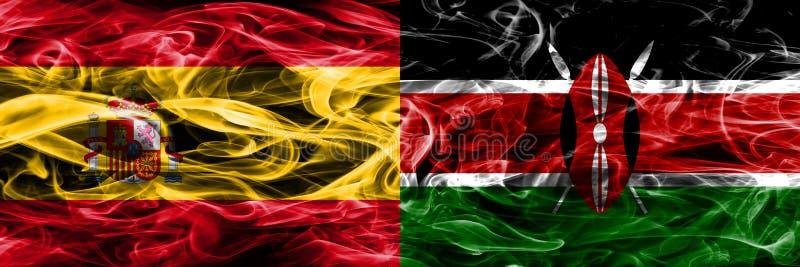 西班牙对肯尼亚肩并肩被安置的烟旗子 厚实的色的si 库存图片