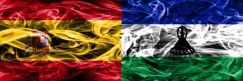 西班牙对莱索托肩并肩被安置的烟旗子 浓厚上色 免版税库存图片