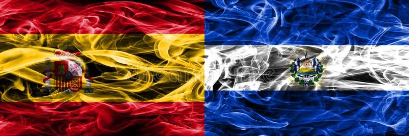 西班牙对萨尔瓦多肩并肩被安置的烟旗子 厚实的colo 库存照片