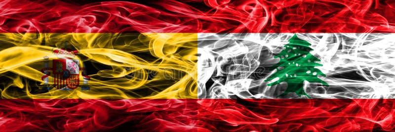 西班牙对黎巴嫩肩并肩被安置的烟旗子 浓厚上色 库存例证