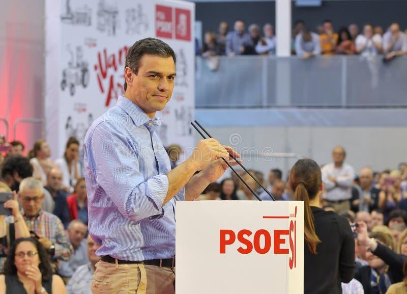 西班牙工人社会党(PSOE)的集会 图库摄影