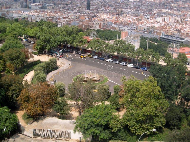 西班牙市 都市的横向 可爱的背景 从鸟` s眼睛视图的城市 免版税库存照片