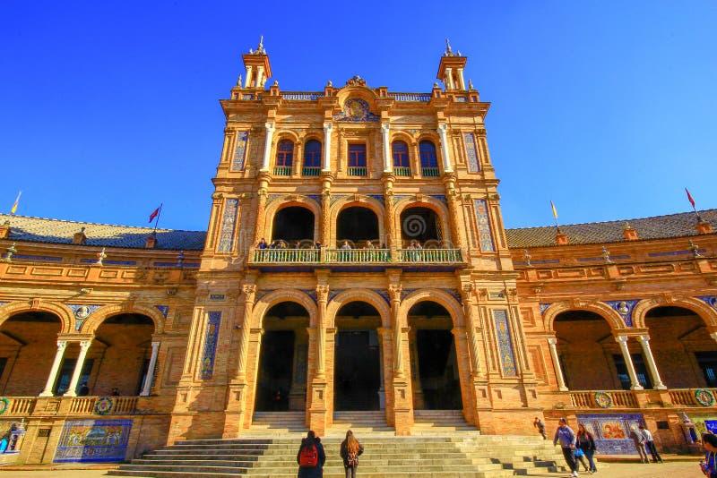 西班牙摆正Plaza de西班牙,塞维利亚,西班牙 免版税库存照片
