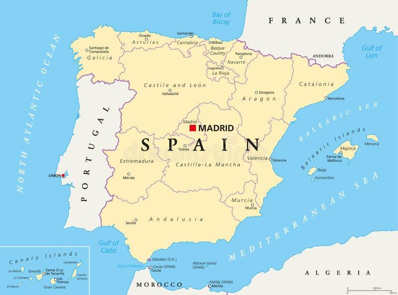西班牙政治和管理部门地图 向量例证