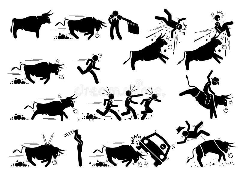 西班牙斗牛和布尔朗战役事件图表象 库存例证