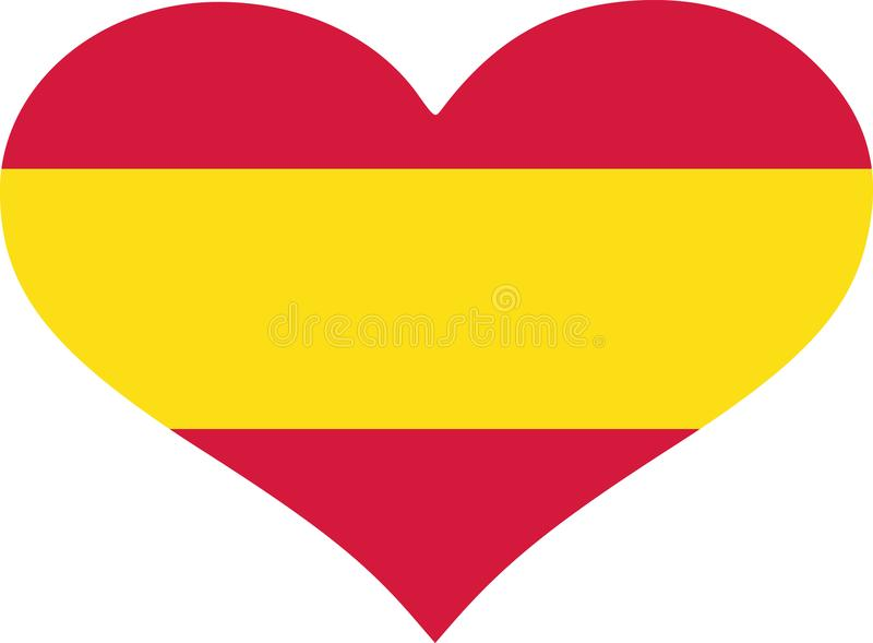 西班牙旗子心脏 皇族释放例证