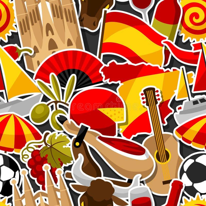 西班牙无缝的样式 西班牙传统贴纸标志和对象 皇族释放例证
