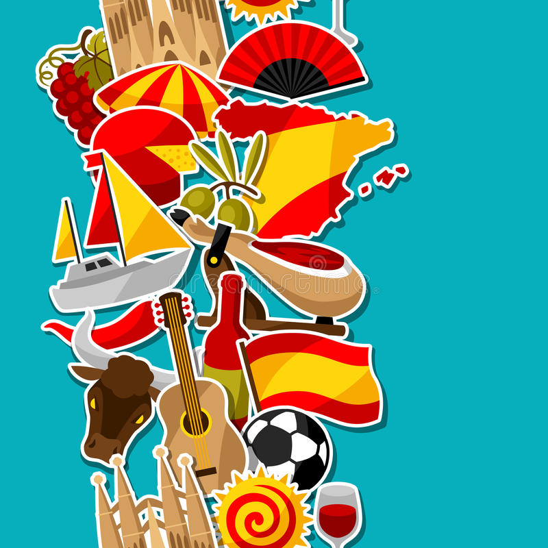 西班牙无缝的样式 西班牙传统贴纸标志和对象 向量例证