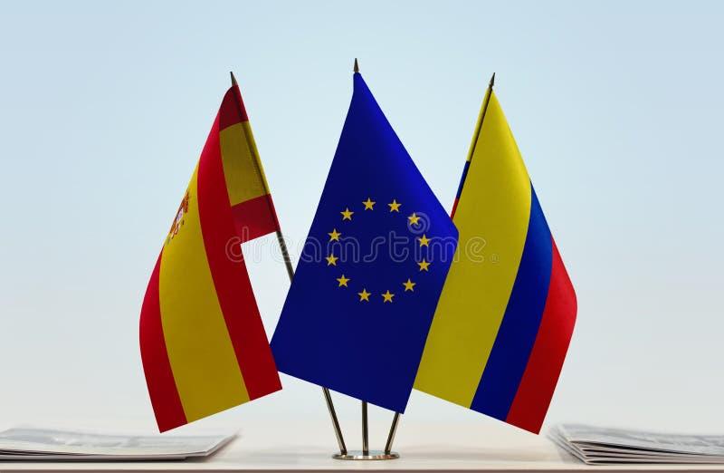 西班牙欧盟和哥伦比亚的旗子 免版税库存照片