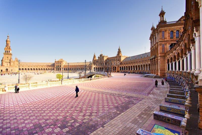 西班牙正方形, Plaza de西班牙美丽的景色,在塞维利亚 库存照片