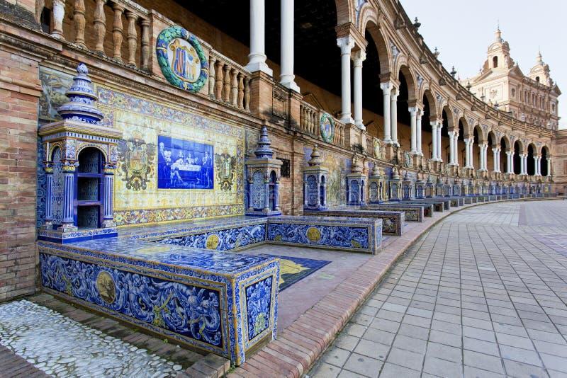 西班牙正方形, Plaza de西班牙美丽的景色,在塞维利亚 免版税库存照片