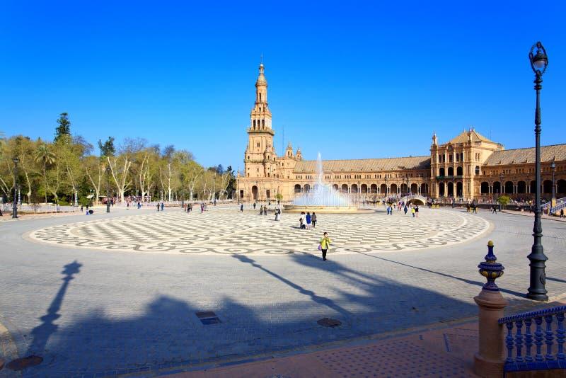 西班牙正方形, Plaza de西班牙美丽的景色,在塞维利亚 免版税图库摄影