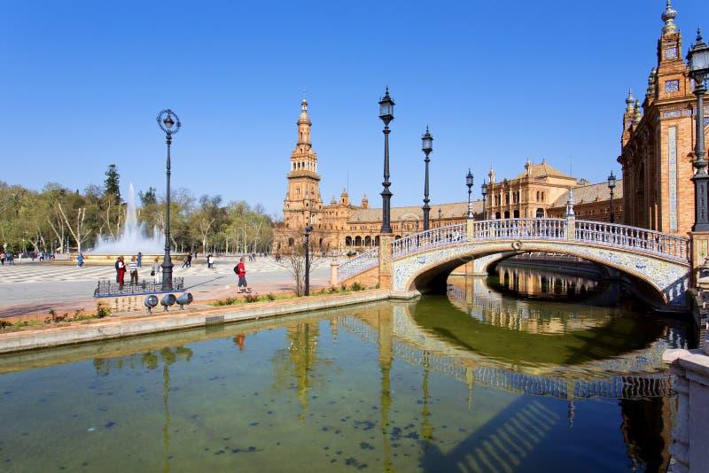 西班牙正方形, Plaza de西班牙美丽的景色,在塞维利亚 免版税库存图片
