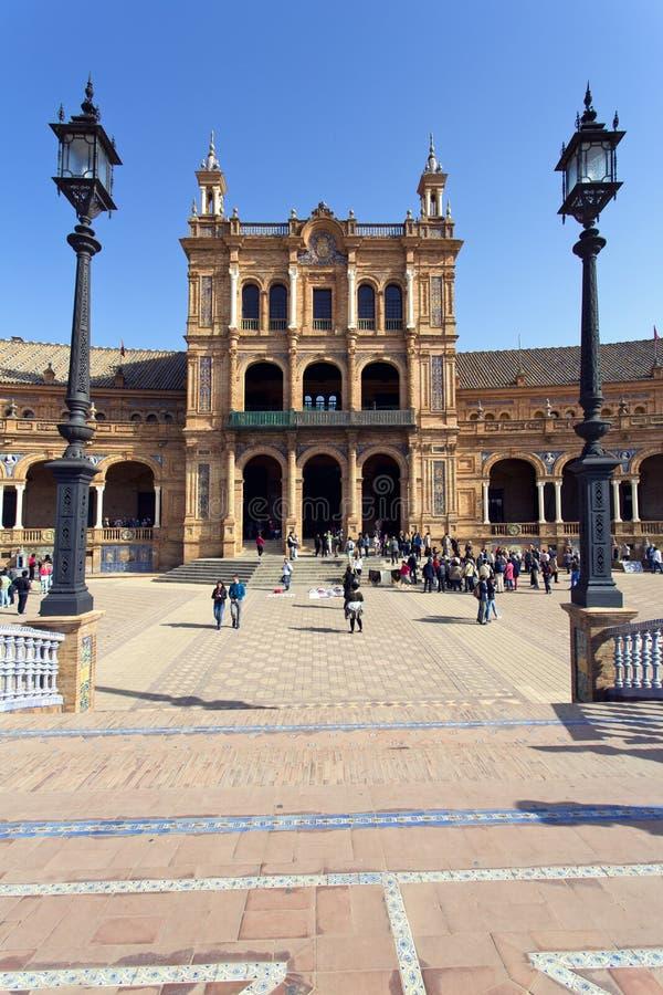 西班牙正方形, Plaza de西班牙美丽的景色,在塞维利亚 图库摄影