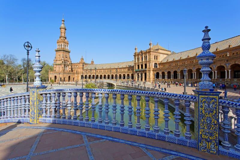 西班牙正方形, Plaza de西班牙美丽的景色,在塞维利亚 库存图片