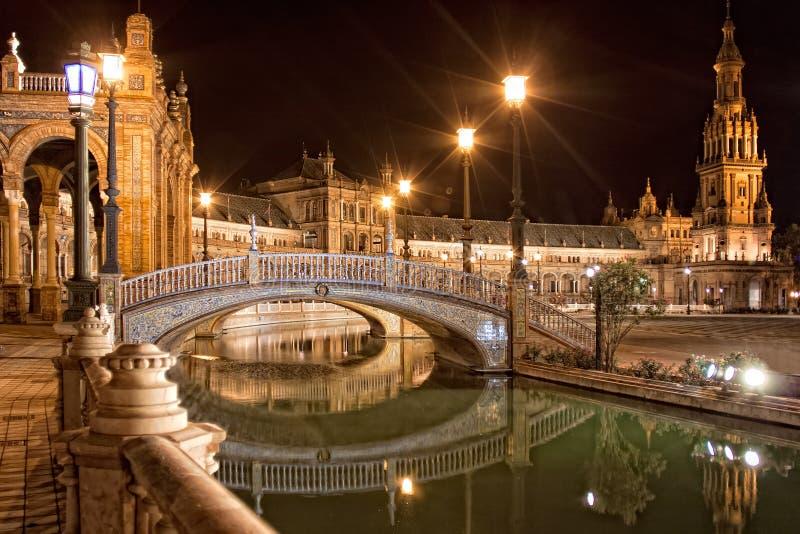 西班牙正方形(Plaza de西班牙)在塞维利亚在晚上,西班牙 免版税库存照片