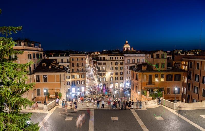 西班牙步和Piazza在黄昏-罗马,意大利的di Spagna 免版税库存照片