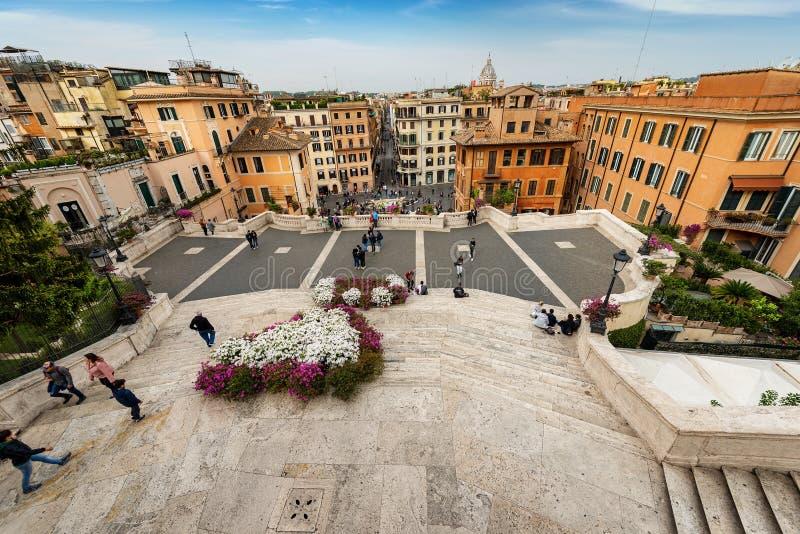 西班牙步和Piazza di Spagna -罗马意大利 库存照片