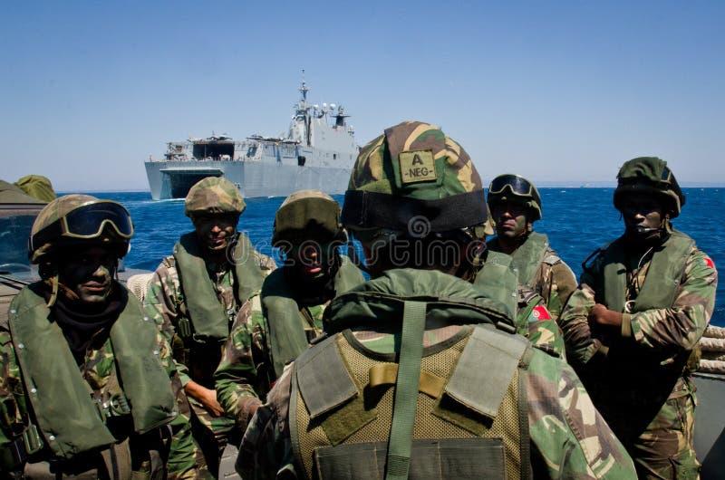 西班牙海军举行海军锻炼 免版税库存照片