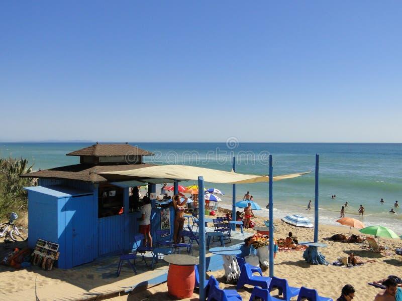 西班牙海滩酒吧在夏天 图库摄影