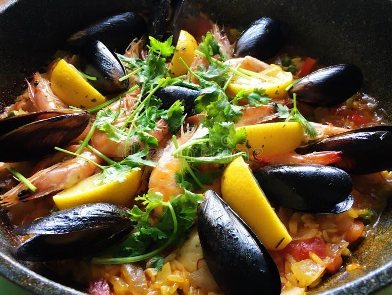 西班牙海鲜米 免版税库存照片