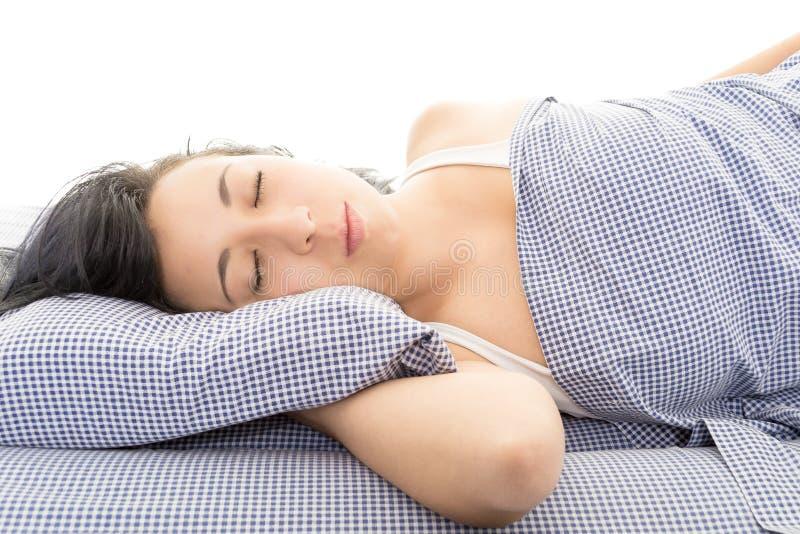 西班牙深色醒在床上 免版税图库摄影