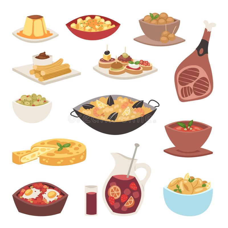 西班牙烹调烹调法传统食物盘食谱西班牙快餐塔帕纤维布有壳的面包美食术传染媒介例证 向量例证