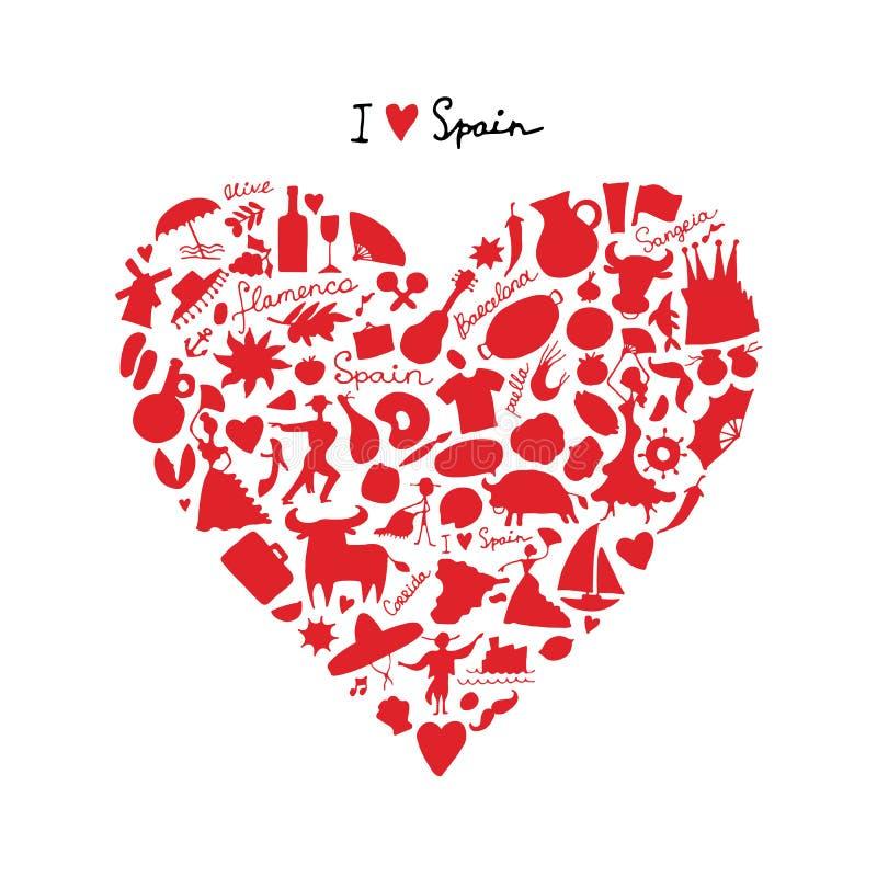 西班牙爱,艺术心脏形状 您的设计的剪影 向量例证