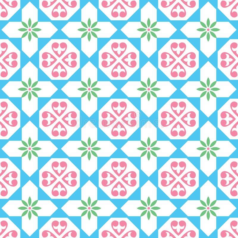 西班牙瓦片样式,摩洛哥和葡萄牙瓦片无缝的设计Azulejo 库存例证