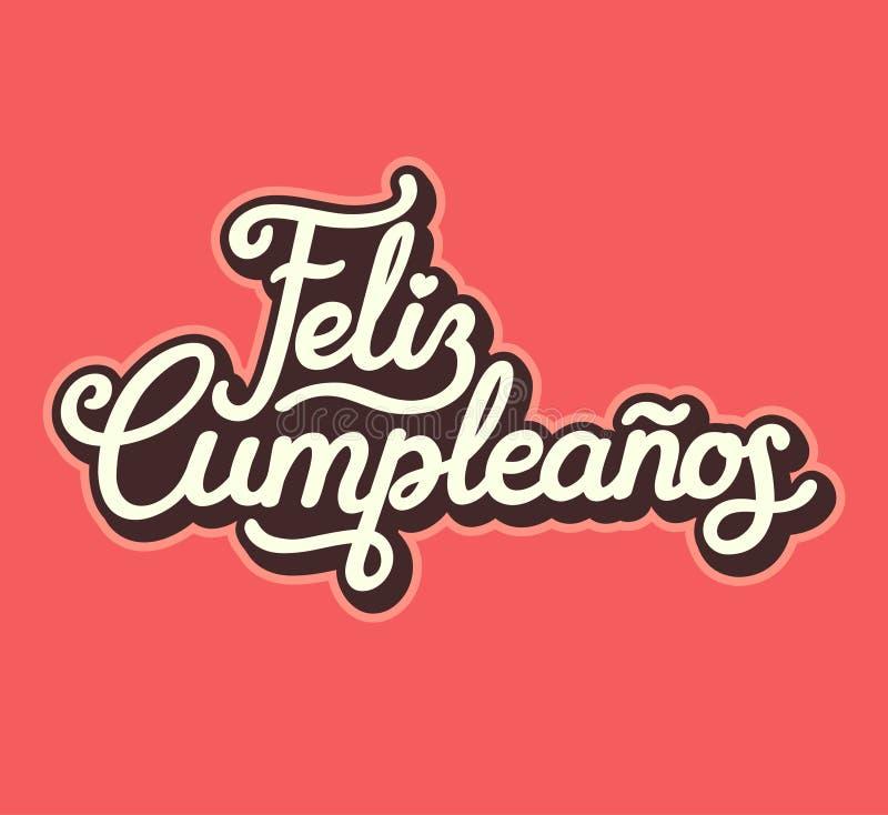 西班牙生日快乐书信设计 向量例证