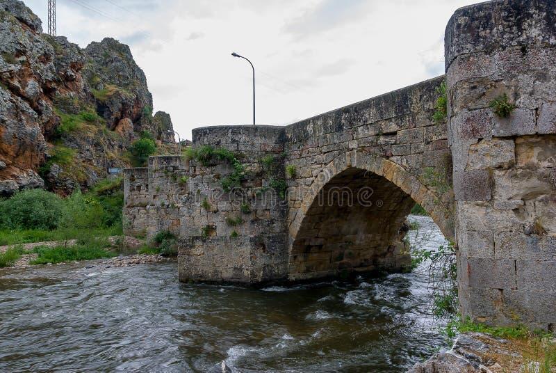 西班牙由塞尔韦拉德皮苏埃尔加石桥梁的里约Pisuerga  帕伦西亚 免版税图库摄影