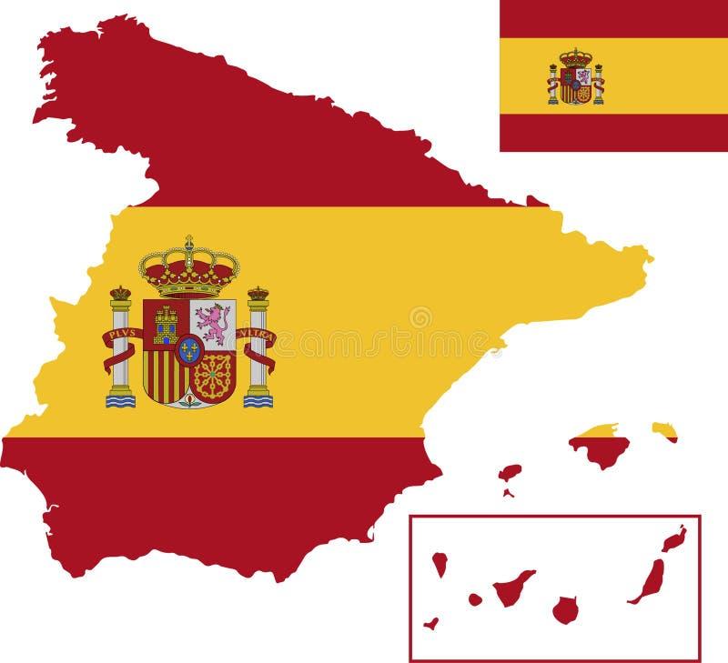 西班牙的传染媒介地图有旗子的 被隔绝的,白色背景 免版税图库摄影