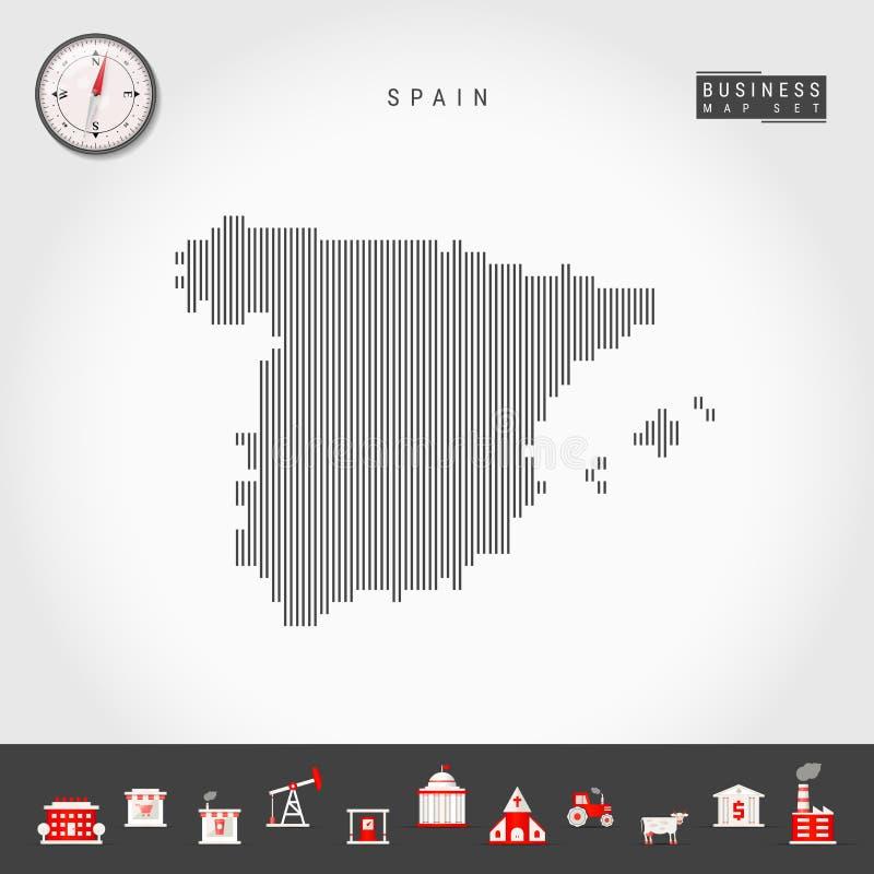 西班牙的传染媒介垂直线地图 西班牙的镶边剪影 现实指南针 r 皇族释放例证