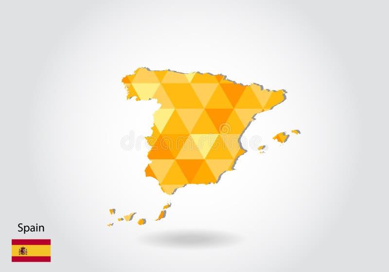 西班牙的几何多角形样式传染媒介地图 西班牙的低多地图 库存例证