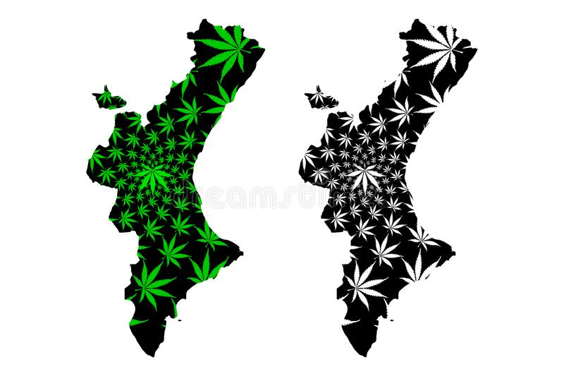西班牙的巴伦西亚自治区王国,自治社区地图是被设计的大麻叶子绿色和黑,瓦伦西亚语国家地图 库存例证