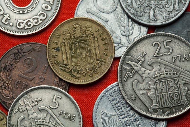 西班牙的硬币在佛朗哥下的 库存图片