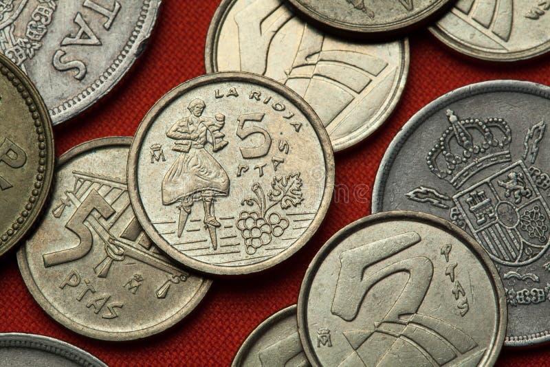 西班牙的硬币 安吉亚诺,拉里奥哈的舞蹈家省 免版税图库摄影