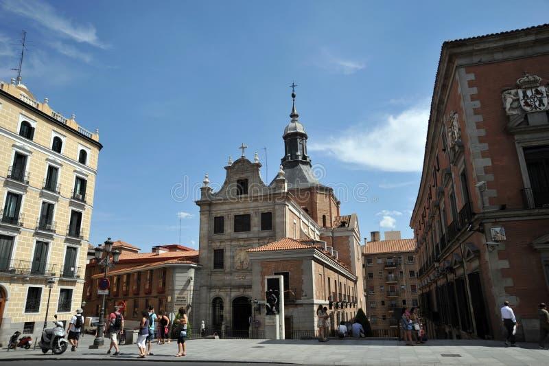 西班牙的萨加门多救国军事委员会教会在马德里的中心 库存照片