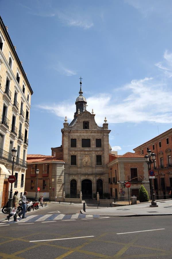 西班牙的萨加门多救国军事委员会教会在马德里的中心 图库摄影
