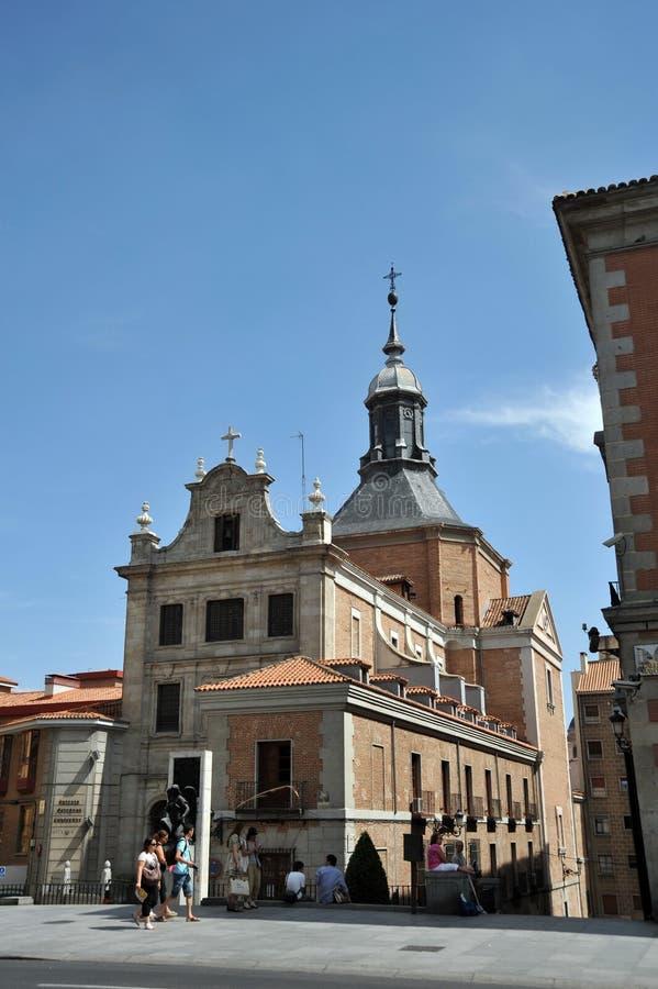 西班牙的萨加门多救国军事委员会教会在马德里的中心 免版税库存照片