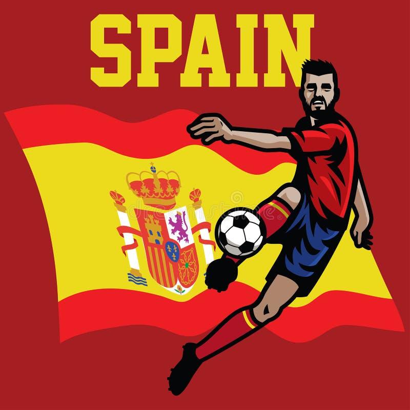 西班牙的足球运动员 向量例证