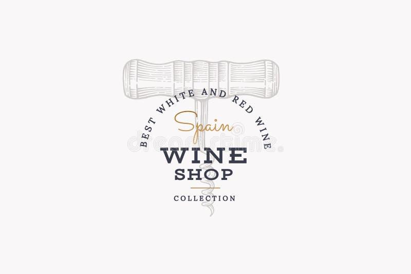 西班牙的酒 导航商标与图象拔塞螺旋的酒铺在轻的背景 向量例证